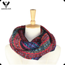 Lady′s Fashionable Custom Jacquard Pattern Multicolor Loop Scarf