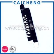 Labios cosméticos que empaquetan cartones plegables de papel pequeño mate negro