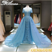 V-Neck Ruffled Lace Appliques Sequin ice Blue Alibaba Wedding Dress
