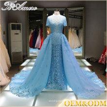 V-образным вырезом Раффлед кружева аппликации блестки ледяной синий свадебное платье Алибаба