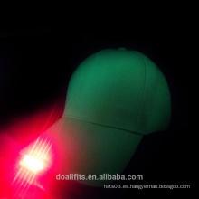 Sombrero de béisbol verde con cinco luces para la luz roja en China
