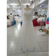 Простой Белый свадебное платье с бисером обертывания