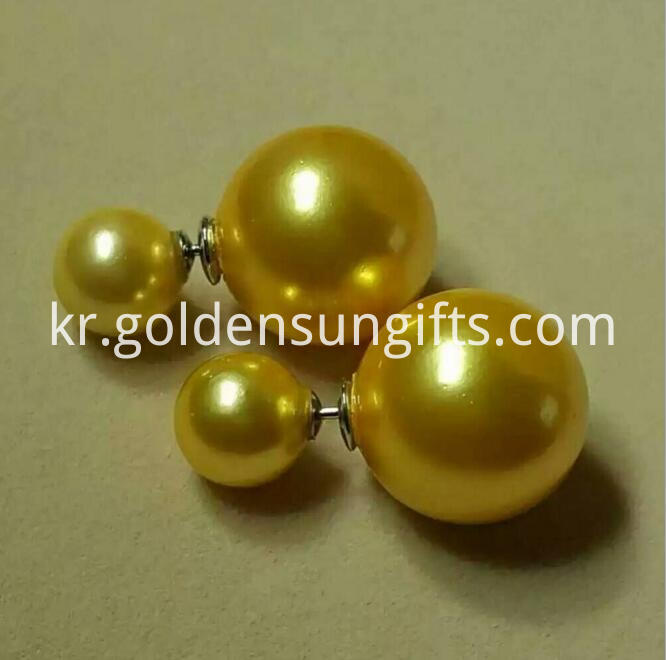 Gold Shell Pearl Bead Ear Stud Jewelry