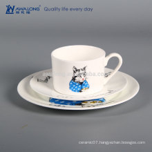 Cat Painting Unique Pattern Western Design Dinner Plates, Ceramic Tableware For Restaurants