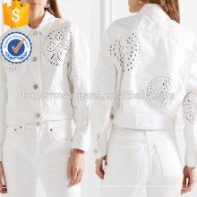 Weiße Denim Baumwolle bestickte Langarm Frühjahr Jacke Herstellung Großhandel Mode Frauen Bekleidung (TA0002J)