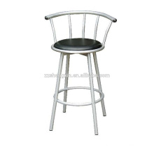 Metal PVC Bar Chair, Swivel Backrest Bar Chair Steel Tube
