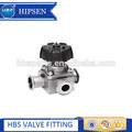Biopharmaceutical three way stainless steel diaphragm valve