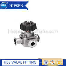Manual three way stainless steel diaphragm valve