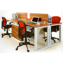Melamine metal 4 person office workstation layout