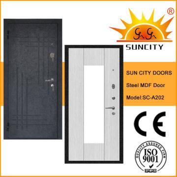 Высокое качество безопасности стали деревянные двери МДФ (СК-A202)