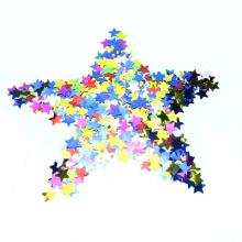 Buntes Sternpapier und metallische Confetti
