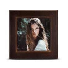 Logotipo personalizado impreso blanco cuadrado 3D la sublimación madera marco de fotos