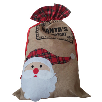 Large christmas burlap sack with santa pattern
