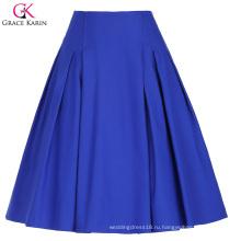 Грейс Карин женщин высокого эластичный старинные Ретро-синий трапеция Короткая юбка CL010451-3