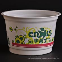 Cubo de plástico desechable para alimentos