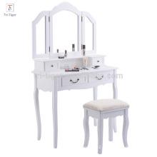 Folding Vintage White Bathroom Vanity Makeup Dressing Table Set with stool