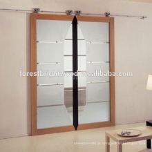 Folha dupla de madeira porta de celeiro, francês porta deslizante