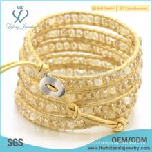 Handcrafted tecido pulseira de couro, atacado bohemian jóias