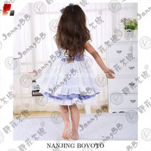 Blue and white cute puffy dress