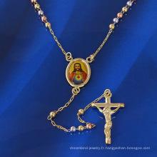 41339 bijoux de religion xuping, collier de chapelet chrétien multicolore avec pendentif en croix