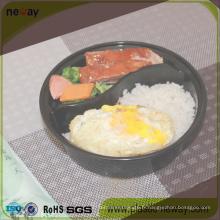 Boîte à lunch jetable en plastique ronde de 2 compartiments de Micronaveable