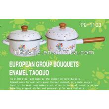 enamel saucepan sets with wooden handle and metal lid