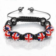 Moda jóias britânica bandeira Rhinestone Beads Shamballa Pulseira