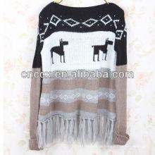 13STC5354 Weihnachtsstrickjacke Quasten verschönert Weihnachtspullover