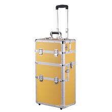Organizador cosmético de la caja del maquillaje del caso del maquillaje del balanceo de aluminio 3 en 1 FAVORABLE