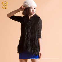 Retour BKnitted Wide Rabbit Fur Gilet avec fourrure de Raccoon Collar Around