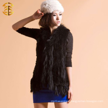 Back BKnitted Wide Rabbit Fur Vest With Raccoon Fur Collar Around