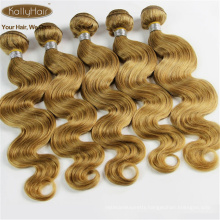7A 100% Brazilian Human Virgin Hair Extensions Golden Blonde Human Hair Weaves