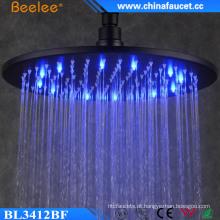 Cabeça de chuveiro de LED de pressão de água preto redonda de banheiro