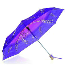 Drucken Polyester 3 Falten öffnen und schließen Windproof Regenschirm (YS-3FD22083507R)
