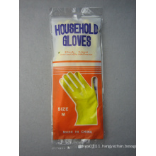 Yellow Household Rough Finish Flock Linng Latex Work Glove-5701