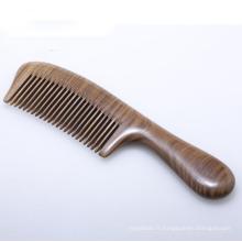 Logo OEM redressant le peigne en bois de santal à dents larges
