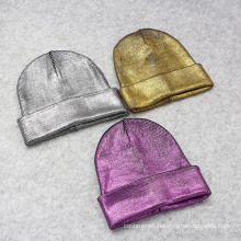 Gold Silver Purple Metallic Unisex Acrylic Skullies Girls Knitted Cap Hat Beanie (HW137)
