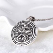 Moda, redondo, moeda, tag, estilo, cruz, símbolo, zircon, pendant