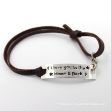Custom Leather Strap Metal Stainless Steel Silver Fashion Bracelet