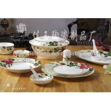 Exportación real hueso fino china placa de cerámica conjunto