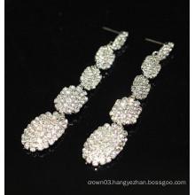 New Promotion Bridal Elegant Silver Hanging Crystal Stud Earrings