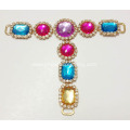 Various Color Stones and White Point Back Rhinestone Trims Sandals Chain