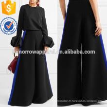Martelé satin-trimmed panty large-jambe pantalons fabrication en gros mode femmes vêtements (TA3065P)