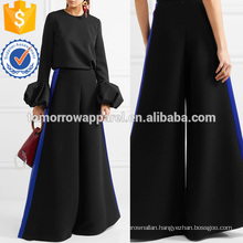 Hammered Satin-trimmed Cady Wide-leg Pants Manufacture Wholesale Fashion Women Apparel (TA3065P)