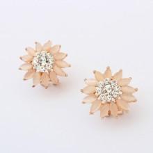 New version fresh sweet wild flower cat eye gemstones inlay clip earrings gold plate metal stud earrings high quality