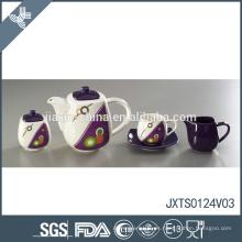 Juego de té de la porcelana de la llegada de la multa del diseño de la etiqueta del punto de la onda del precio al por mayor