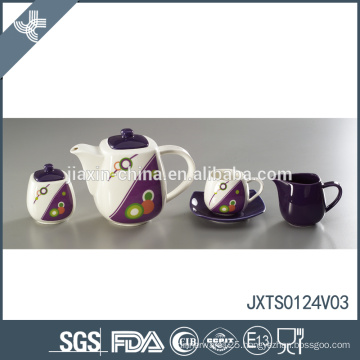 Wholesale price wave point decal design fine new arrival porcelain tea set