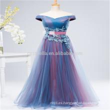 Púrpura larga encaje tapa manga estilo moderno en la acción gasa vestido de dama de honor