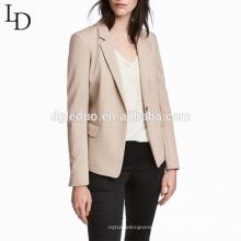 Alta Qualidade Nude Cor Senhoras Escritório Desgaste Casual Estilo Suit Jacket