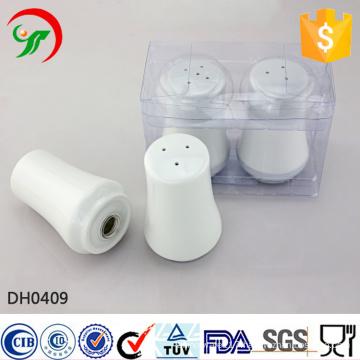 Customized logo wholesale white ceramic salt and pepper shaker set